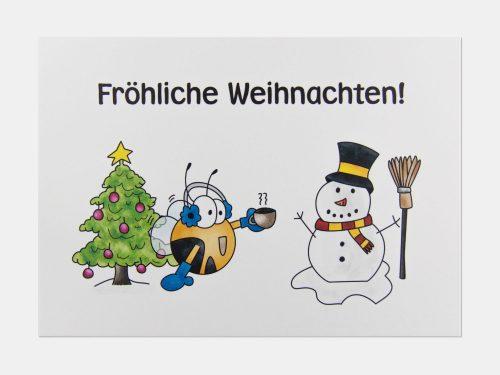 Fleißbienchen-Postkarte: Fröhliche Weihnachten