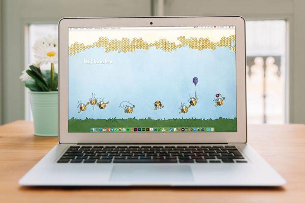 Fleißbienchen-Wallpaper Auf Dem Laptop