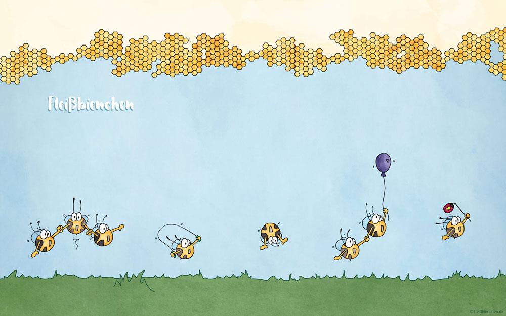 Fleißbienchen: Wallpaper Sommerwiese mit Waben
