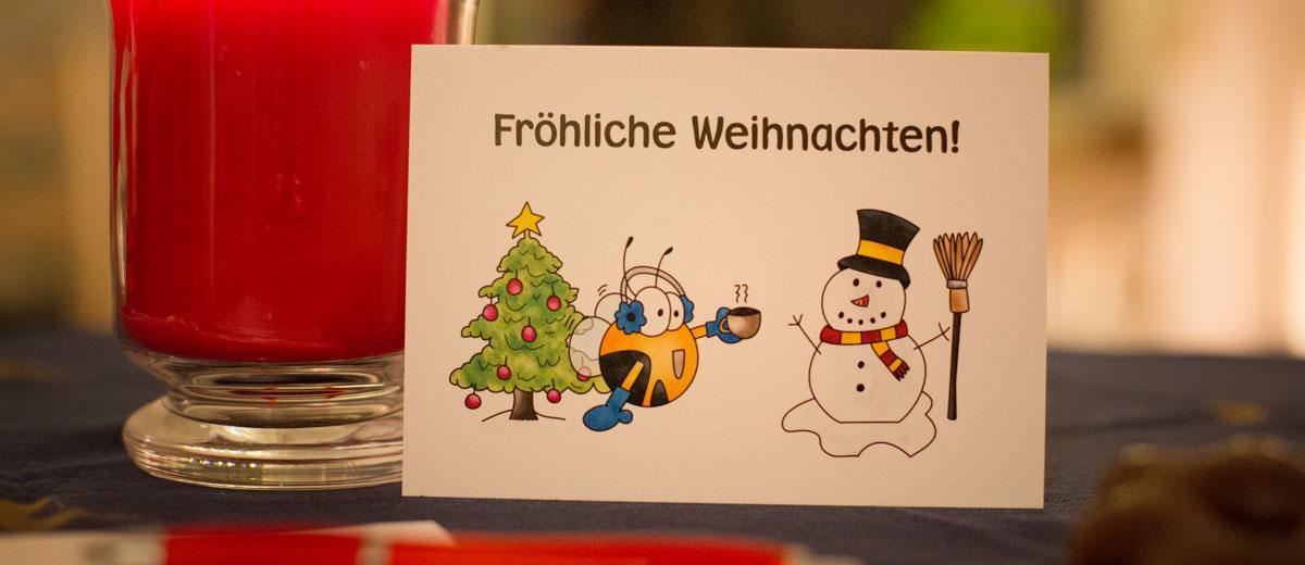 Fleißbienchen-Postkarte mit Weihnachtsmotiv
