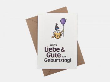 Alles Liebe & Gute, Klappkarte Mit Kuvert