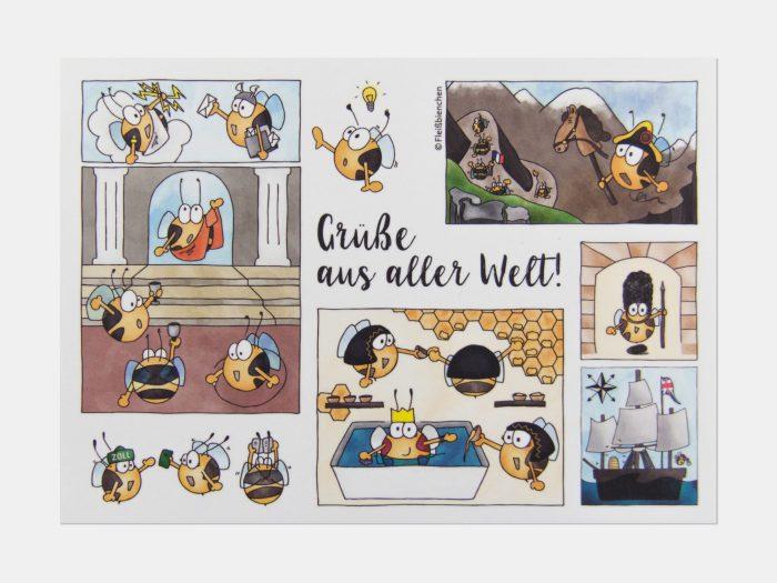 Fleißbienchen-Postkarte: Grüße aus aller Welt