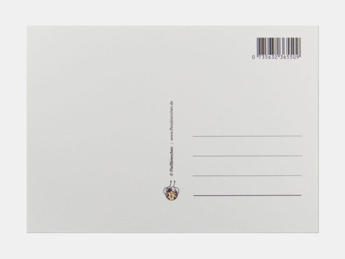 Fleißbienchen-Postkarte: Grüße aus aller Welt, Rückseite